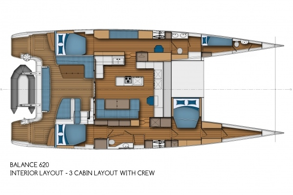 Balance 620 - Interior Layout - 3 Cabin Layout with Crew